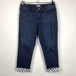 Coldwater Creek Cropped Jeans With Polka Dot Trim